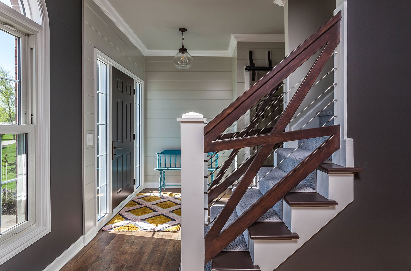 wood staircase railings