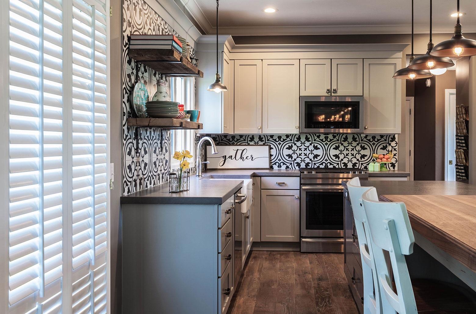 kitchen interior with white cabinets