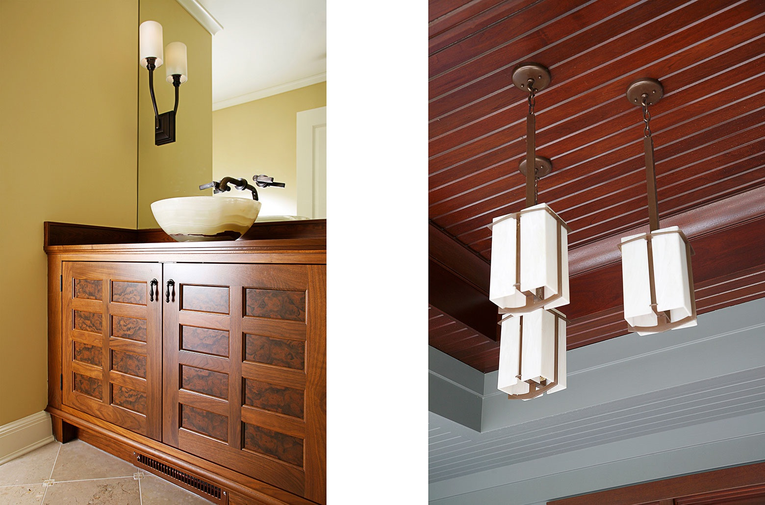 wood bathroom cabinets and ceiling