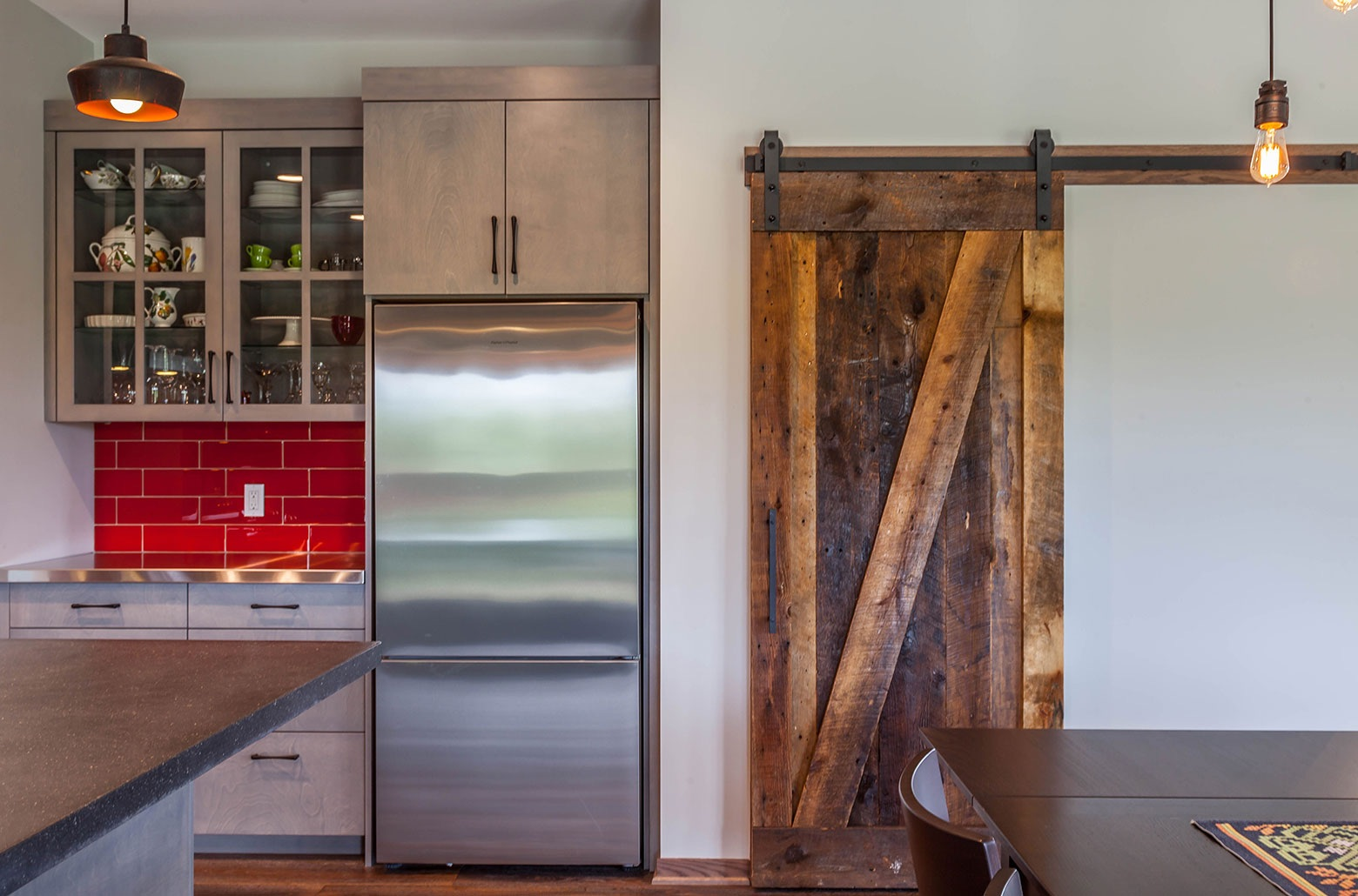 kitchen with wood door