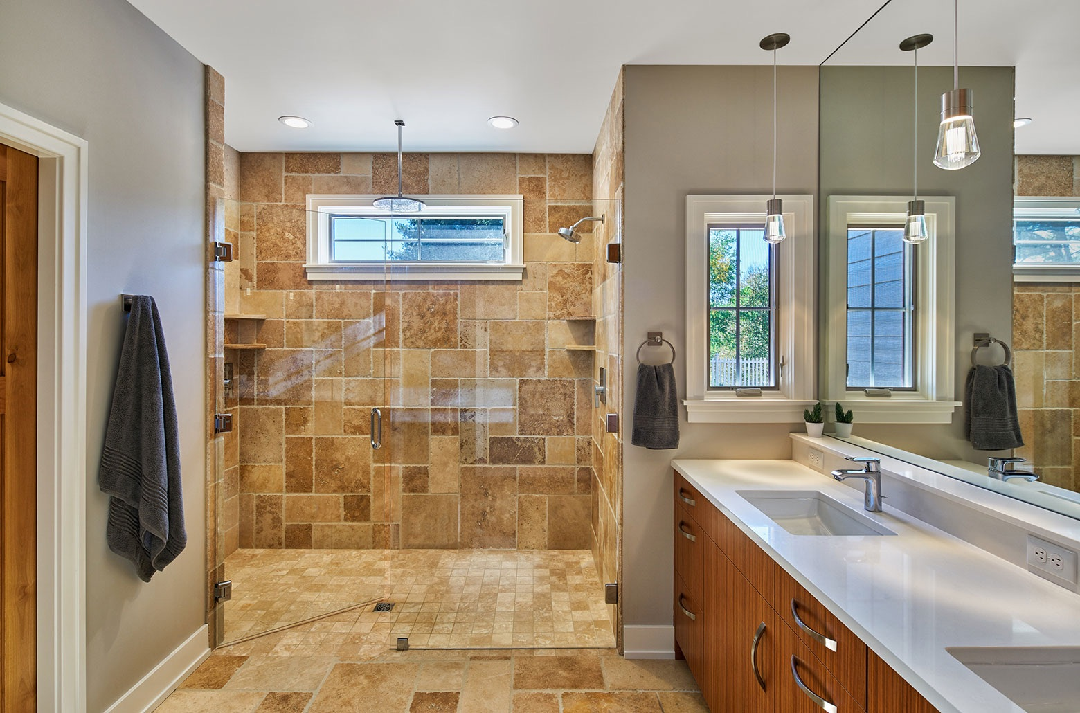 shower with modern tiles