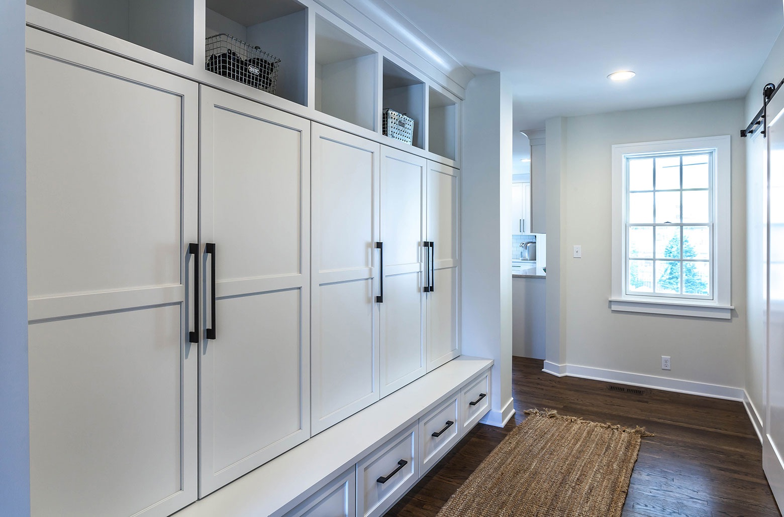 entrance hall white cabinets