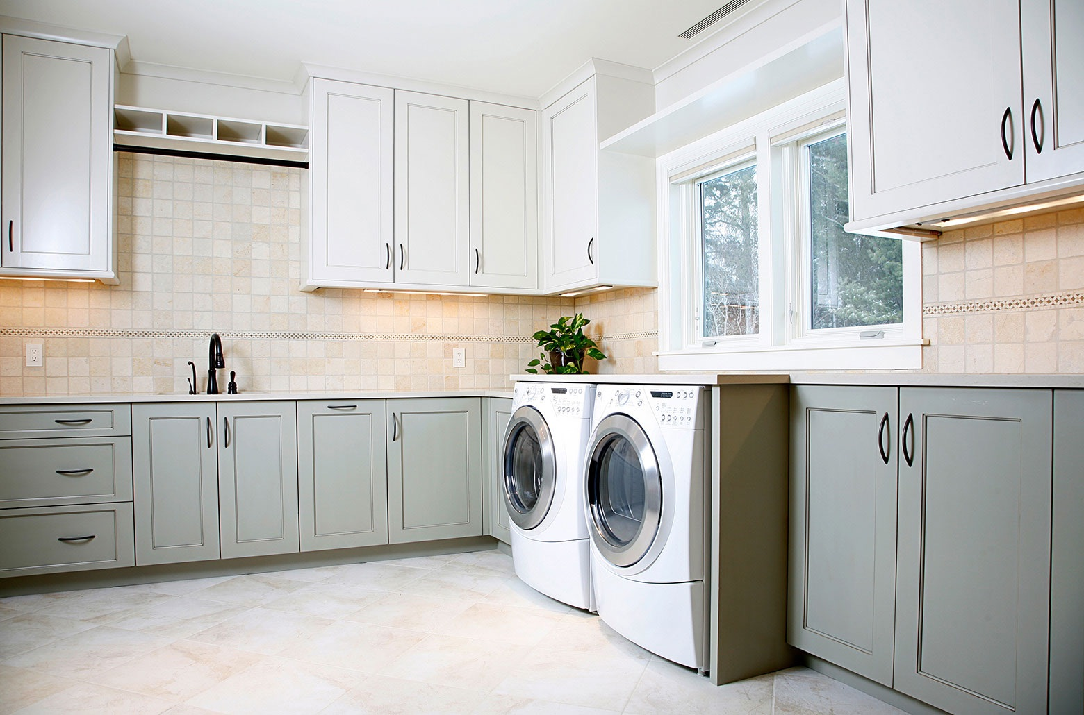 washer and dryer with cabinets